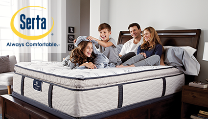 Family on bed with Serta Logo